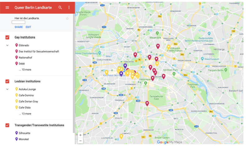 Screenshot of map of Berlin with pins showing locations of historical queer institutions